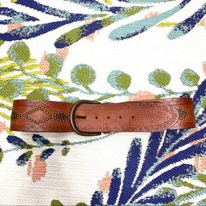 Fossil Brown Leather Diamond Studded Wide Belt